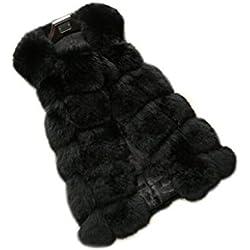 D-cool Women's Gilet Outwear Long Slim Vest Faux Fox Fur Waistcoat Jacket (M/US8, BLACK)