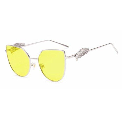 Color HOME Simple Moda Luz QZ De Polarizada Grande Amarillo Caja Alas De Personalidad Gafas Sol Amarillo Harajuku 6x6q1d
