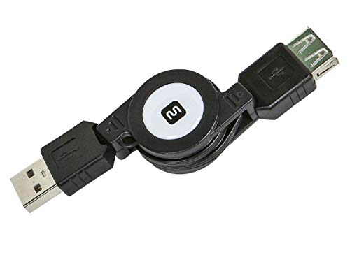 Monoprice 2.5' USB 2.0 Retractable Cable - A Male to A Female (110961) (Retractable Extension Usb Cable)