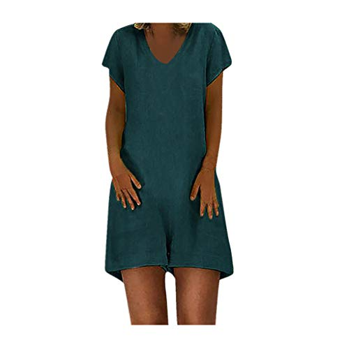 Women's one Piece Playsuit Summer V Neck Short Sve Zipper Jumpsuit A-line Shorts Rompers with Pockets Green (Pocket Cue Jump)