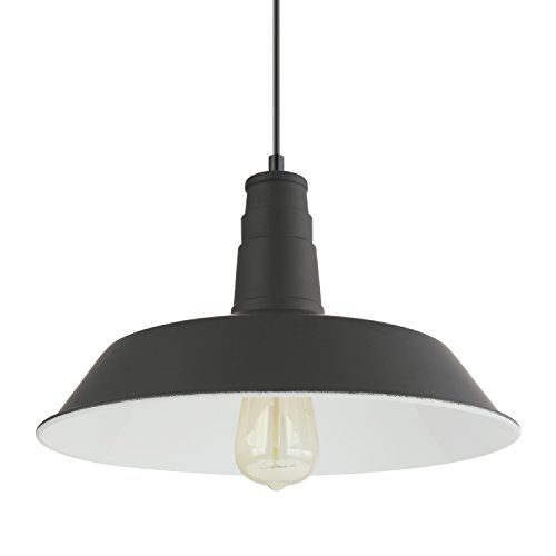Light Society Kress Pendant Light, Matte Black Shade with White Interior, Vintage Modern Industrial Farmhouse Lighting Fixture (LS-C199-BLK) by Light Society (Image #2)