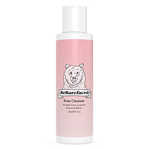 Ageing Anti Vitamin - BeBarefaced Natural Rose Cleanser - Vegan Face Wash for Dry Skin - Anti-Ageing with Vitamin A, C & E to Hydrate & Target Wrinkles For a Youthful Glow - Removes Makeup - Essential Oils Rosehip & Kukui