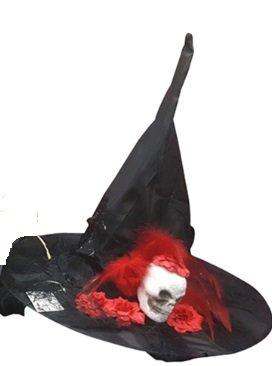 GIRM® - S1019C Cappello da strega con teschio e nastro rosso ... 2b6844984fe6