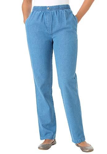 Woman Within Women's Plus Size Elastic-Waist Cotton Straight Leg Pant - Light Stonewash, 22 W ()