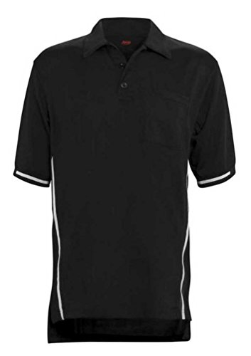 (Adams USA Short Sleeve Baseball Umpire Shirt with Side Stripe - Sized for Chest Protector, Black, Large)