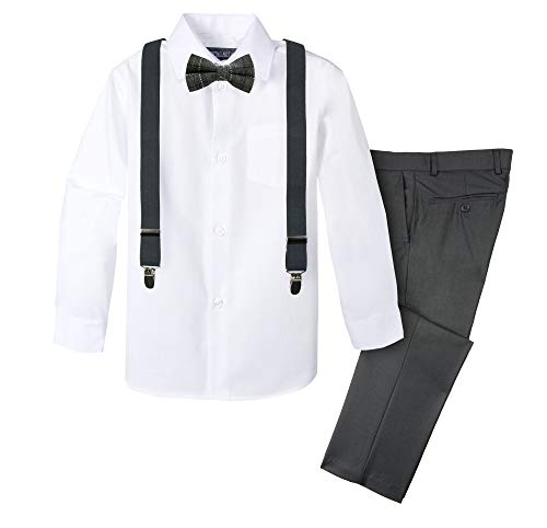 (Spring Notion Boys' 4-Piece Plaid Suspender Outfit 3T Charcoal/Black)