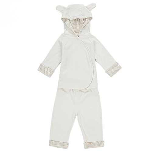 Natural color cotton double layer baby sports suit with cap cute baby leisure suit 156500 (L, BEIGE) by COTTONBEBE TOYS