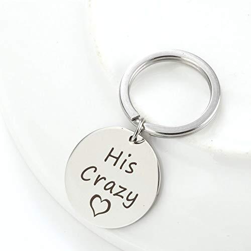 AXEN Key Chain Gift, His Crazy Her Weirdo, Couples Set, Style 2