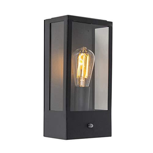 QAZQA Modern Buitenwandlamp zwart met licht-donker sensor – Rotterdam 1 Glas/Roestvrij staal (RVS) Rechthoekig Geschikt…