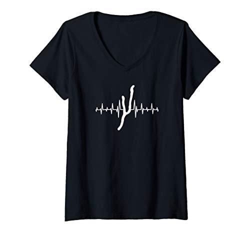 Womens Heartbeat Keuka Lake Upstate NY - Finger Lakes - Lake Life V-Neck T-Shirt ()