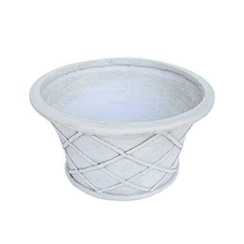 (Great Deal Furniture Grace Garden Urn Planter Pot, Lipped Edge, Lattice Pattern, Antique White Lightweight Concrete)
