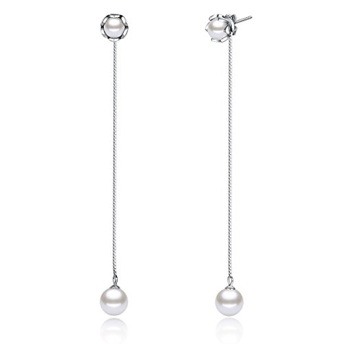 WOSTU Genuine 925 Sterling Silver Fashion Long Chain Pearl Drop Dangle Earrings (Pearl & Chain Drop Earrings)