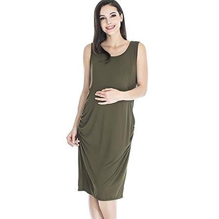 Everly Grey Womens Pia Maternity and Nursing Criss-Cross Bust Tank Dress