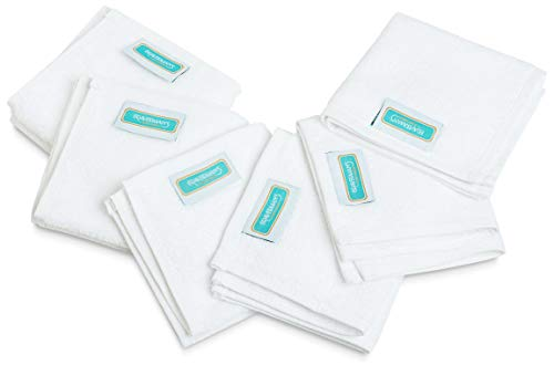 Braverman`s Washcloths Towel Set Multi-Functional Extra Soft Organic Cotton Face Towels, Super Absorbent Face Cloths, Sport and Workout Towels (White) (Oeko-TEX Certified) (6)