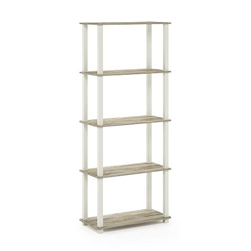 Multi Purpose Display - Furinno 18123OK/WH Turn-S 5-Tier Multipurpose Display Rack with Square Tubes, Sonoma Oak/White
