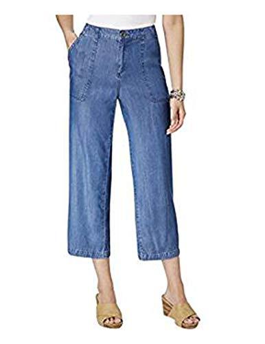 Style & Co. Womens Wide Leg Embellished Capri Pants Blue - Leg Co Pant Woman Wide Style &