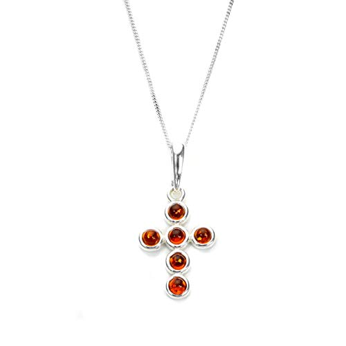 Sterling Silver & Baltic Amber Round Bead Cross Pendant on Chain / Necklace - Chain 22