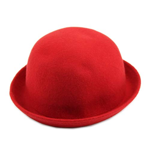 SimpleLif Vintage Vogue Ladies Women Men Unisex Vintage Wool Bowler Derby Hat Cap(Red)