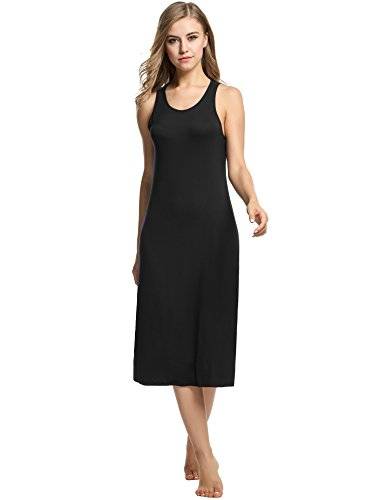 Avidlove Womens Cotton Gown Sleeveless Nightshirt Sleepwear Racerback Bodycon Dress Black Small