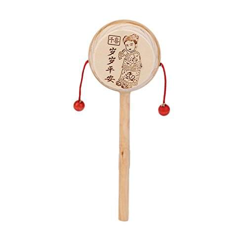 Ireav Baby Rattle Drum Instrument Wood Musical Toy Chinese Styles Anti Stress Promoting Blood Circulation Toys Gift