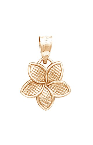 Plumeria 15 Mm Pendant (14K Rose Gold Plumeria Flower 15mm Necklace Pendant)