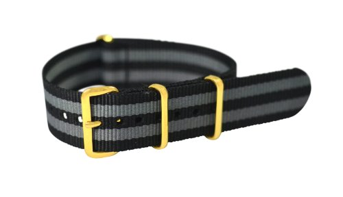 Clockwork Synergy Premium Nylon Nato Watch Straps bands Yellow Gold Hardware (18mm, Black / Grey)