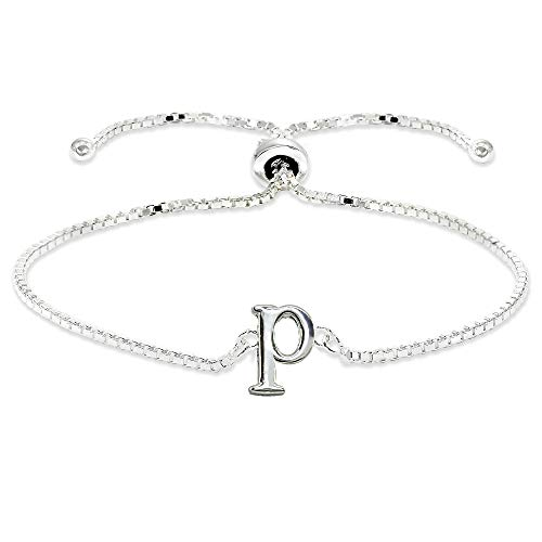 Sterling Silver P Letter Initial Alphabet Name Personalized 925 Silver Adjustable Bolo ()