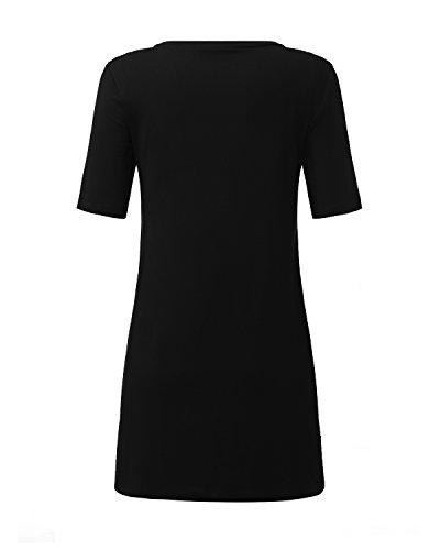 StyleDome - Camisas - camisa - Manga Larga - para mujer negro