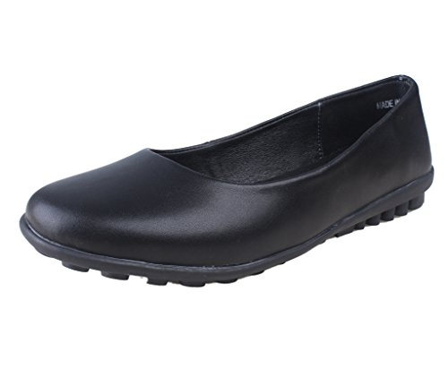 Kunsto Womens Leather Loafer Shoes Remote Control Shaped Bottom Solid Black NGwPg