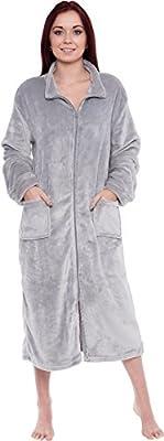 Silver Lilly Women's Full Length Zip up Robe - Plush Fleece Long Zipper Housecoat