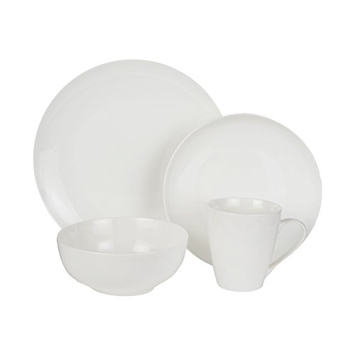 American Atelier 16 Piece Zoe Coupe Bone China Round Dinnerware Set, White (Coupe China Bone)
