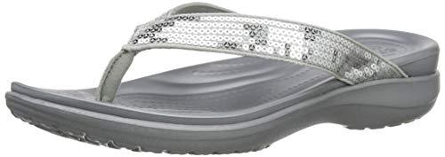 (crocs Women's Capri V Sequin W Flip Flop, Silver, 8 M US)