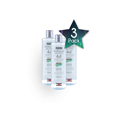 3 Pack ISDIN Micellar Solution 4 in 1 400ml - Cleanses, Tones And Moisturizes - Smooth, Radiant And Impurity - Deep Hydration - Free Skin - Spain