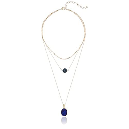 cheap panacea navy stone layered necklace get discount