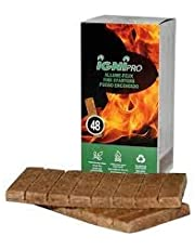 Ignipro Fire Starters Sticks 48 pcs. Clean, Efficient, Ecologic, Odourless, Waterproof. Great for camping, firestoves, BBQ, Charcoal. Easy to ignite. Non toxic. Made from recycle wood and non toxic wax.