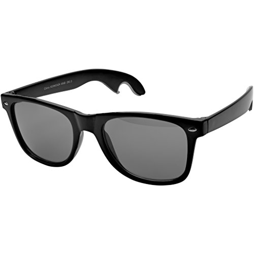 Bullet Sun Ray Sunglasses With Bottle Opener (1.9 x 5.9 x 6.3 inches) (Solid Black) (Opener Arm)