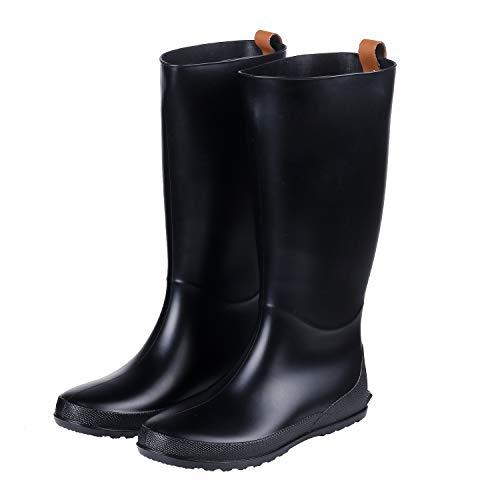 Women's Tall Rain Boots Flat Heel Lightweight Wellies Rain Boots Waterproof Garden Shoes Black