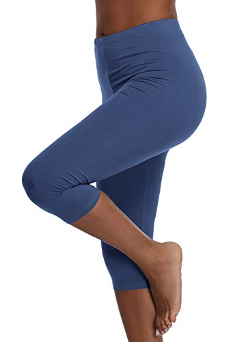 - Womens High Waisted Ultra Soft Capri Leggings Yoga Pants,Aegean Blue,2X