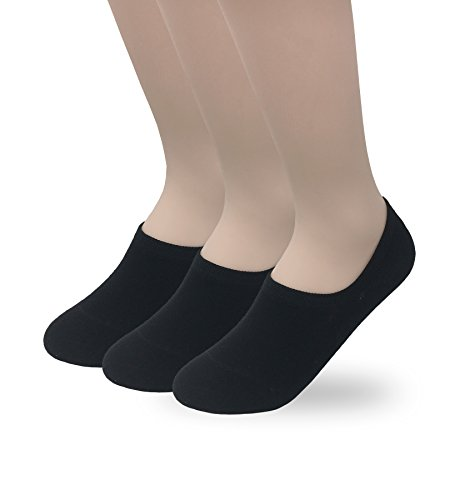 Eedor Women's 3 Pairs Thin Low Cut No Show Socks Non-Slip Liner Black S17 ()