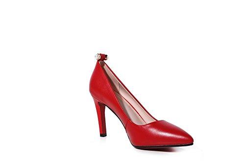 Verschluss Schuhe ohne Pumps Womens Zehen AdeeSu Rutschfeste spitze Leder SDC03946 formale ZqpAwwI