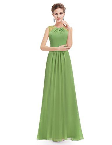 sera da 08742 da Vestito Verde sera Ever Pretty senza maniche donna da elegante FwtSW