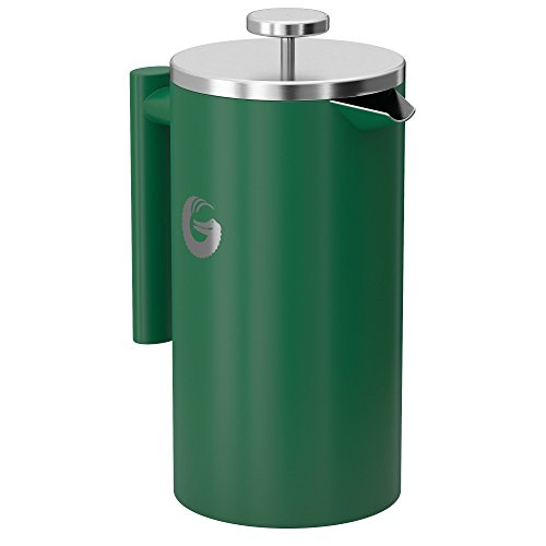 Large French Press Coffee Maker – Vacuum Insulated Stainless Steel, 34 floz, Green