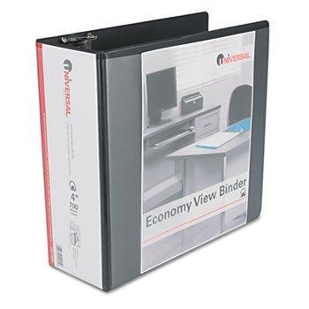 UNV20995 Economy D-Ring Vinyl View Binder, 4quot; Capacity, Black Economy D-ring Vinyl View Binder