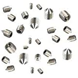 Grub Screws Metric Thread (Mixed 40 PACK) A2 Stainless Steel Cone Point 10 X M3,M4,M5 & M6 x 6mm Socket Allen Key Grub Screw Free UK Delivery