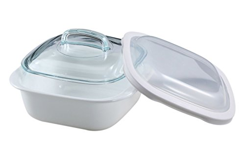Corelle Casserole Bake, Serve, Store 1.5 Quart Lightweight Bakeware With Glass and Plastic Lids (3 Piece Set) (Ceramic Casserole Corelle)