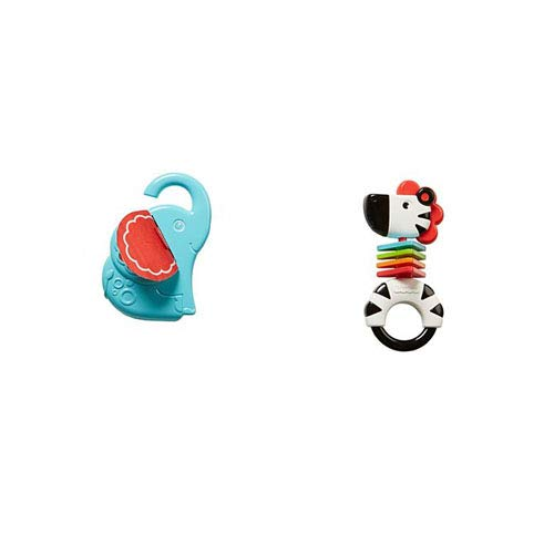 Fisher-Price Elephant Mirror and Zebra Rattle Bundle (Newborn Price Rattle Fisher)