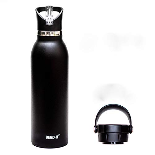 Bend-It Sports, The Coldest Water Bottle with Straws for Adults Kids, Bike Thermos Stainless Steel Premium Quality - BPA Free - Dishwasher Safe