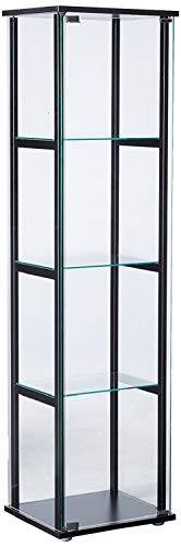 CUORE BANGKOK 4 Shelf Glass Wood Curio Cabinet Furniture Stand Display Case 360 View Door New