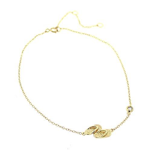 Yellow Gold-Tone Bezel-Set CZ Flip-Flops Slippers Anklet Bracelet ()