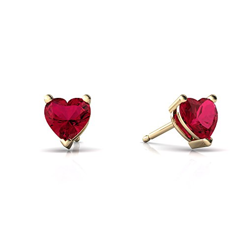 Ruby 5mm Created Heart Earring (14kt Yellow Gold Lab Ruby 5mm Heart Heart Stud Earrings)